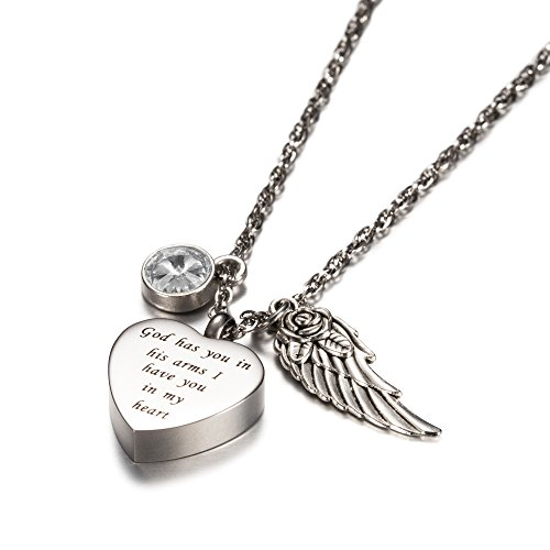 God has you in his arms with Angel Wing Charm Cremation Jewelry Keepsake Memorial Urn Necklace with Birthstone crystal by AMIST (God Keepsake)