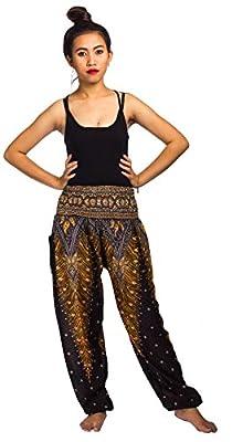 Lofbaz Women's Rayon Print Smocked Waist Boho Harem Pants ...
