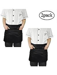 Pawaca 2 Pcs Half Apron, Polyester Waist Apron with Double Pockets, Bartender Apron Bust Apron for Men, Women, Chef, Baker, Servers, Waitress, Waiter, Craftsmen, Black