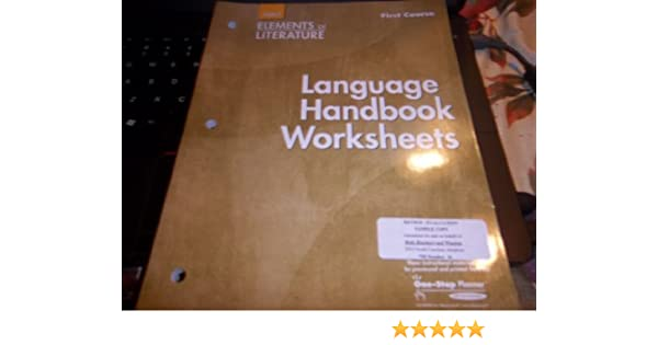Elements of Literature: Language Handbook Worksheets Grade 7 First ...