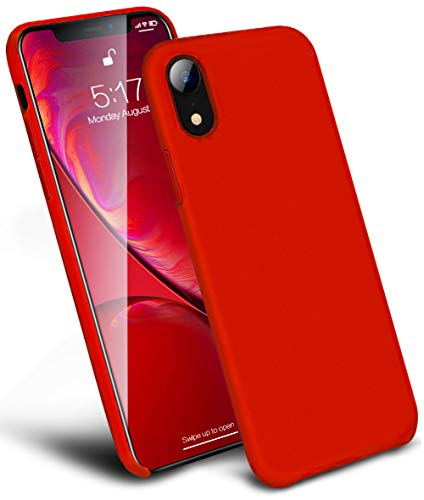 (KUMEEK iPhone XR Case Silicone, Anti-Slip Liquid Silicone Gel Rubber Slim Girl iPhone XR Case with Soft Microfiber Cushion Shockproof Drop Protective Case Cover for Apple iPhone XR (Red 6.1))
