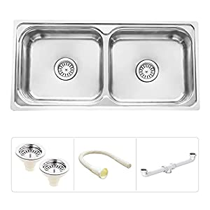 Ruhe S36 Double Bowl Kitchen Sink, Bright Silver, Glossy Finish
