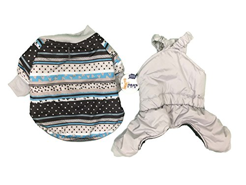 Protect Me Alert Series lp2213043 2 Piece Pet Snowsuit, X-Small, Multi Grey (Doggy Snowsuit)