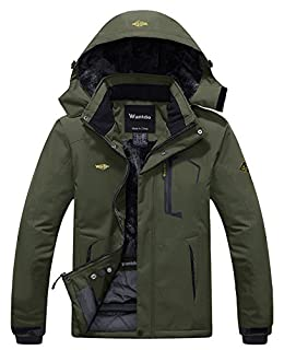 Wantdo Men's Waterproof Fleece Ski Jacket Windproof Snow Jacket Army Green S (B07B2TRVVT) | Amazon price tracker / tracking, Amazon price history charts, Amazon price watches, Amazon price drop alerts