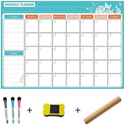 Tischkalender Kalendarien 1pcs Magnetische trockenen löschen Kalender for Kühlschrank White Board Familie Zeitplan Woche Monatsplaner waterprooftime Management (Color : Light green month)