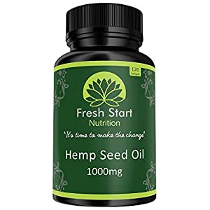 Hemp Seed Oil Capsules 1000mg | 120 Premium High Strength Cold Pressed Hemp Oil Softgels (4 Month Supply) | Natural Source of Omega 3 and 6 | Made in The UK to GMP Standards