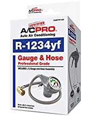 Certified AC Pro Car Air Conditioner R1234YF Refrigerant Gauge and Hose, Reusable AC Recharge Kit, 24 in, Pack of 4, CERTYF102-4-4PK