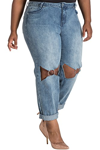 Poetic Justice Plus Size Women's Curvy Fit O-Ring Knee Cut-Out Boyfriend Jeans Size 14 X 32 Blue