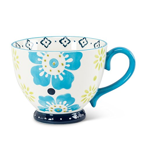 Abbott Collection 27-Chintz 08 Fan Handled Cup, Blue and Green