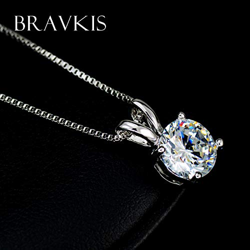 Davitu Small cz stoneround Solitaire Pendants Necklace for Women Charms Necklaces with Box Chain Mujer Davitu BUN0047