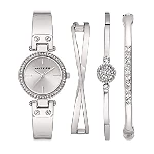 Anne Klein Women's Swarovski Crystal Accented Watch and Bangle Set, AK/3368