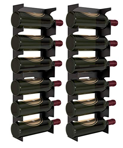 Y-Furniture Wall Series - Wall Mount Steel Wine Rack Bottle Label View Display (6 Bottles) (2X Mat Black)