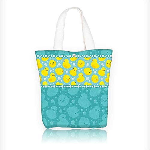 (Canvas Tote Handbag Yellow Duckies Swimming in Water with Fun Bubbles Aqua Colors Teal Yellow Shoulder Bag Purses For Men And Women Shopping Tote W16.5xH14xD7 INCH)