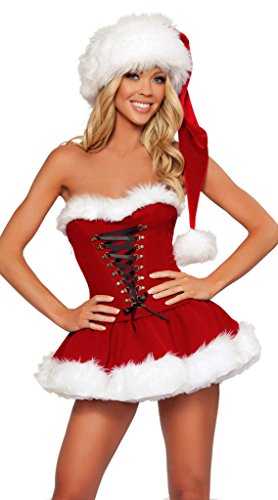 Christmas Outfit Sexy (WELVT Girls Womens Christmas Sexy Lingerie Santa Outfit Velvet Costume Dress M)