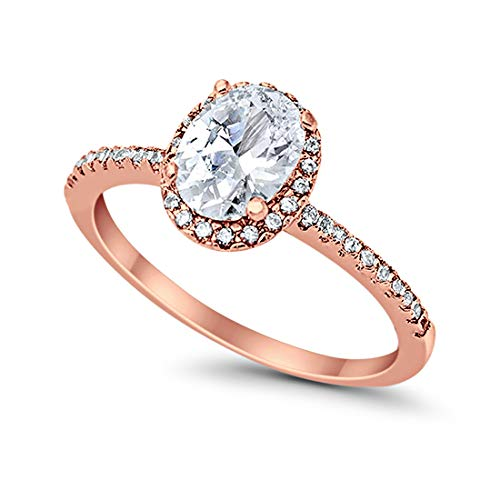 Accent Halo Wedding Promise Ring Oval Cut Cubic Zirconia Round CZ Rose Tone Plated 925 Sterling Silver, Size-6