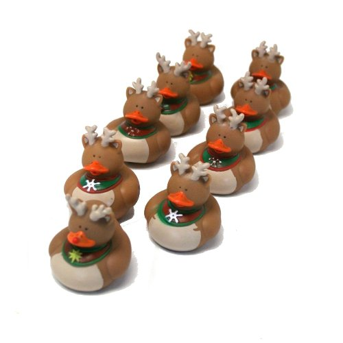 Fun Express - Reindeer Rubber Duckies (9 Pc Set) for Christmas - Toys - Character Toys - Rubber Duckies - Christmas - 9 Pieces