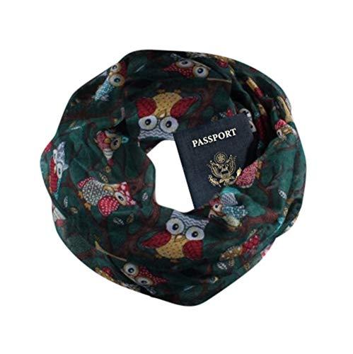 Women Loop Scarf Infinity Wrap Hidden Zipper Pocket Warm Travel Couple Scarves -