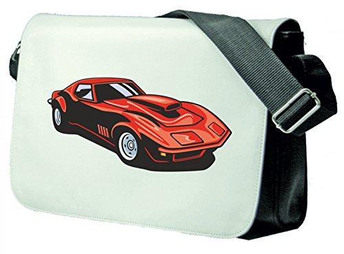 Schultertasche hot Rod Sportwagen Oldtimer Young Timer Shellby Cobra GT Muscel Car America Motiv 9731 Schultasche, Schulanfang Schwarz