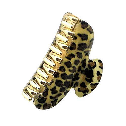 Womens Leopard Large Shower Makeup Bath Hair Claw Clip Grip Clamp Clasp Pin (Color - Dark Leopard S)