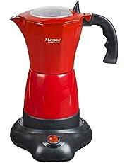 Bestron elektrische Espressomaker, espresso-koker in Viva italia Design, voor 6 espressokopjes, 180 ml, 480W, aluminium, rood