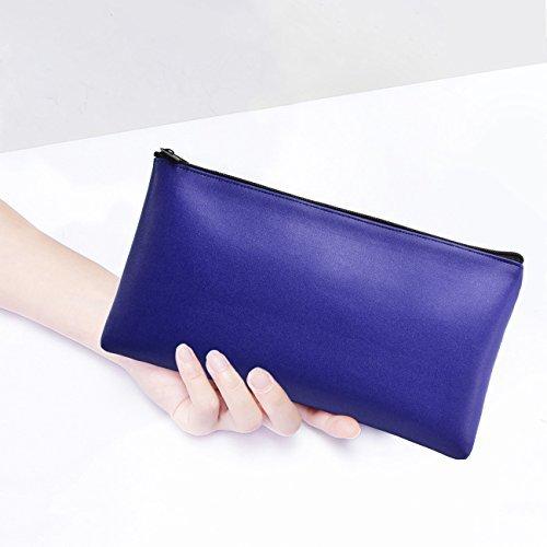 Bank Deposit Money Bag/Utility Zipper Bags for Cash Money Pens Check Wallet 11 x 6 inch(Blue)
