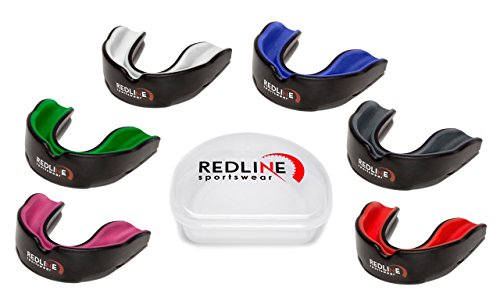Redline Sportswear Mouthguard w/ Vented Case - Protection For All Contact Sports (Blue & Black) (Football Kids Mouth Piece compare prices)