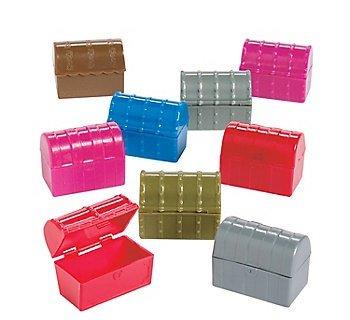 54 Mini Plastic Treasure Chests in Assorted Colors