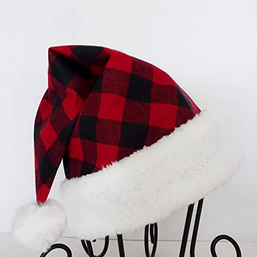 Red and Black Buffalo Check Santa Hat, Novelty Plaid Santa Hat, Christmas Hat ()