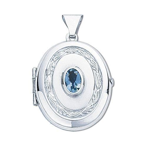Ovale en argent sterling avec topaze bleu en forme de médaillon