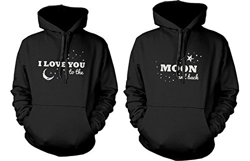 A juego Par Sudaderas con capucha, diseño con texto en inglés I Love You To The Moon And Back - Par Sudaderas: Amazon.es: Ropa y accesorios