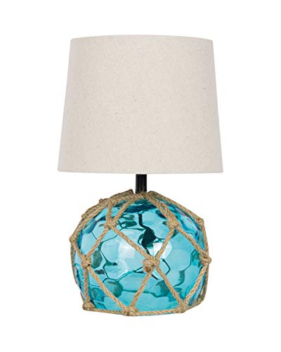 Blue Rope and Glass Nautical Buoy Style Lamp