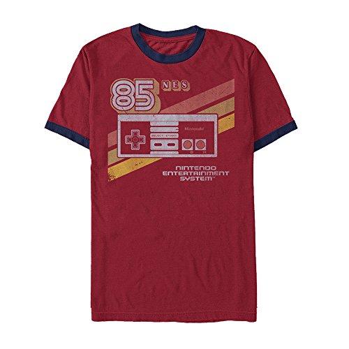 (Nintendo Men's NES 85 Controller Red/Navy Blue Ringer T-Shirt)