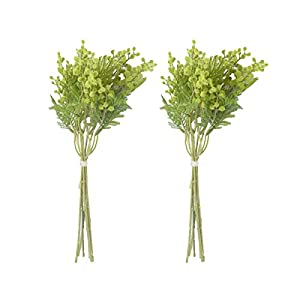 Anna Homey Decor Artificial Flowers Pack of 2 Green Fake Flowers Bouquets,Three Branching Floral Arrangements Artificial for Home Decor,Plant Pots Indoor,Living Room,Coffee Table Decoration 107