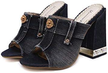 レディース ミュール サンダル ヒール デニム 太ヒール ハイヒール ファッション 11.5cm ヒール 軽量 黒 美脚 疲れにくい 履きやすい サボ サンダル オープントゥ 歩きやすい シンプル 大きいサイズ カジュアル