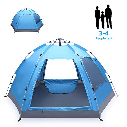 Aibyte 3-4 Person Family Camping Tent,Automatic Instant Pop Up Waterproof Material Family-Sized Groups Camp Beach Tents for Camping Hiking Travel Outdoor Activities,Blue
