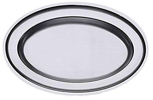 A1-26 x 19 x 2 cm Bratenplatte hergestellt auf Original-VDN/®-Werkzeugen oval aus Edelstahl 18//10 schwere Qualit/ät ERK