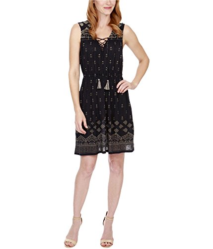 - Lucky Brand Women's Beaded Tank Dress, Navy Multi, X-Large