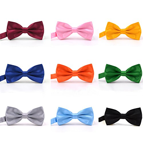 AVANTMEN 9 PCS Pre-tied Adjustable Bowties for Men Mixed Color Assorted Neck Tie Bow Ties (9 Pack, Satin Mixed Color) - Purple Stripe Satin