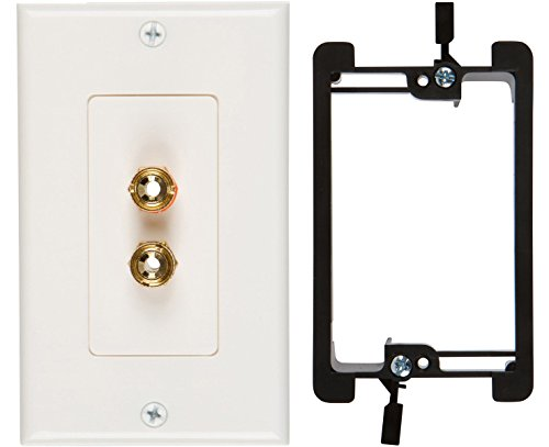 Buyer's Point Single Speaker Wall Plate, Premium Quality Gold Plated Copper Banana Binding Post Coupler Type, with Single Gang Low Voltage Mounting Bracket Device (1-Gang Single Speaker) ()