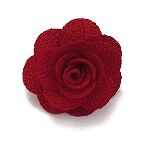 Sunny Home Men's Lapel Flower Handmade Boutonniere Pin for Suit (Red) - Flower Button