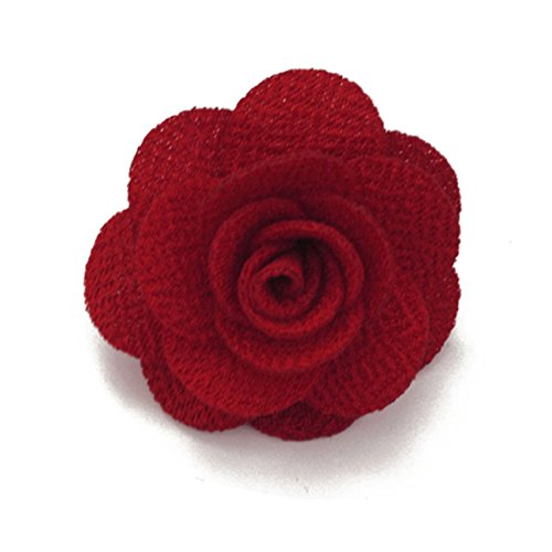 Sunny Home Men's Lapel Flower Handmade Boutonniere Pin for Suit (Red) Boutonniere Pin