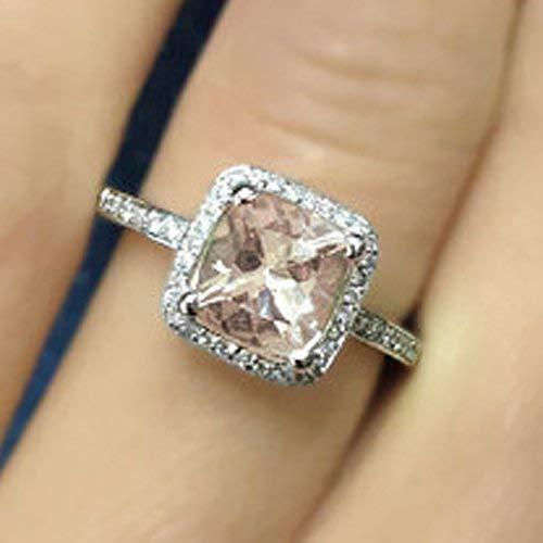 - Cushion Cut Morganite Engagement Ring 14k Rose Gold Peach Pink Morganite Ring Handmade Anniversary Ring