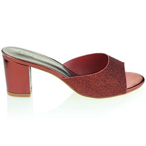 Mujer Señoras Cuadrado Punta Abierta Hebilla Detalle Correa De Tobillo Metálico Medio Tacón De Bloque Noche Fiesta Boda Prom Sandalias Zapatos Tamaño Rojo