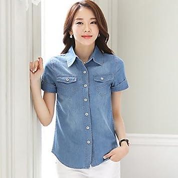 Mujer Camisas y blusas de mujer color azul camisa, camisa cuello manga corta, color