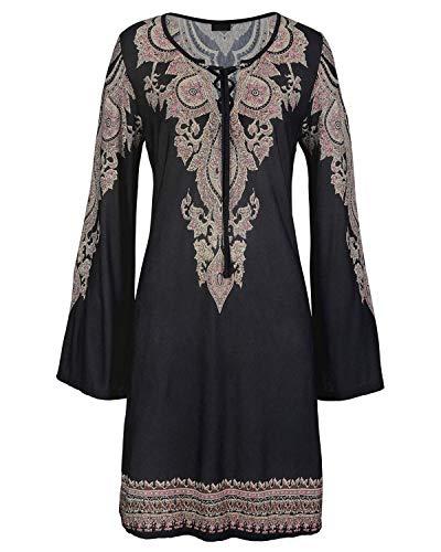 Aelson Womens Bohemain Imprimé Cravate Sundress V Cou Occasionnels Mini Robe Beachwear Noir