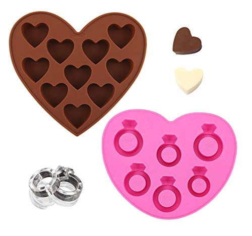 Ring Jewelry and Love Heart Engagement Wedding Shapes for Chocolate and Ice Tray (Engagement Ring Ice Mold)