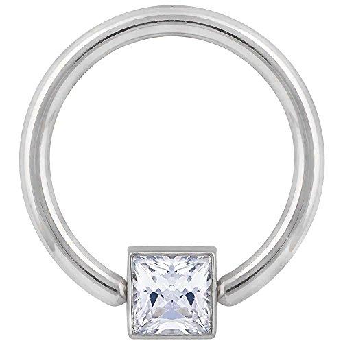 FreshTrends Diamond 0.25CT. T.W. Side Bezel 14K White Gold Captive Bead Ring 14G 1/2