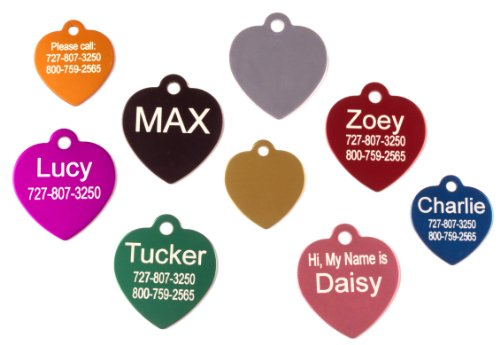 Shaped Dog Cat - Providence Engraving Heart Shaped Pet ID Tag, Regular