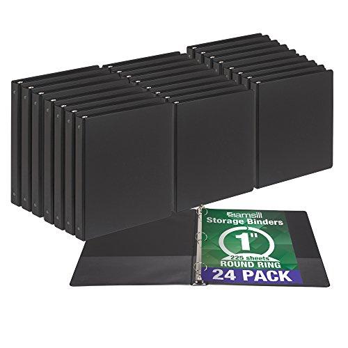Samsill 3 Ring Document Storage Bulk Binders, 1 Inch Round Ring, Black, 24 Pack