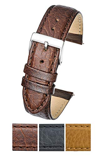 Soft Stitched Semi Padded Genuine Leather Buffalo Grain Watch Band in Extra Long Length for Wider Wrists ONLY- Brown - 22XL (fits Wrist Sizes 7 1/2 to 9 inch)